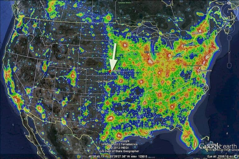Light pollution map dark site finder