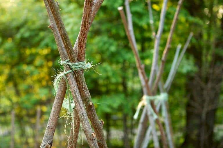 Teepee support stakes