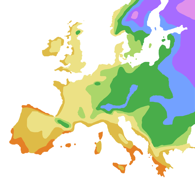Europe USDA Plant Hardiness Zone Map