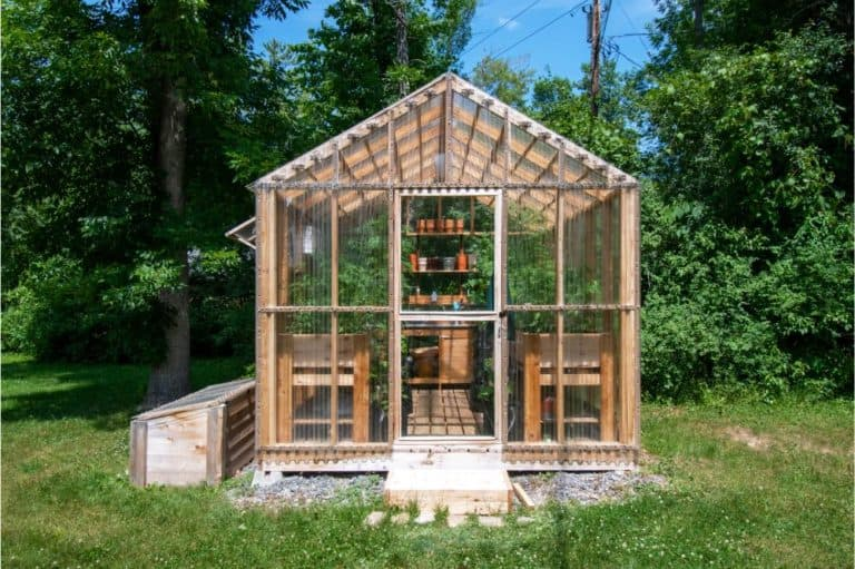 Wooden domestic greenhouse for growing vegetables