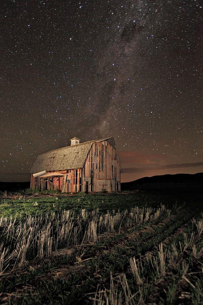Barn against galaxy photo
