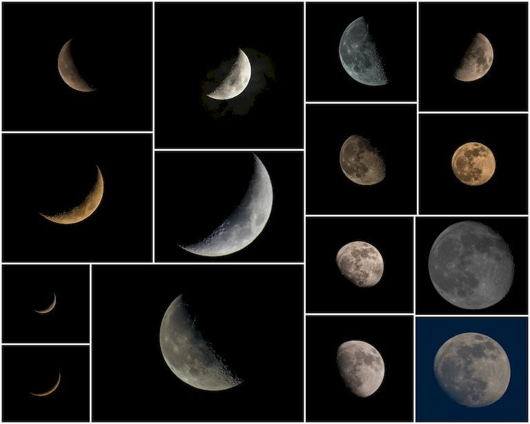 Full, new, waxing and waning moon phases