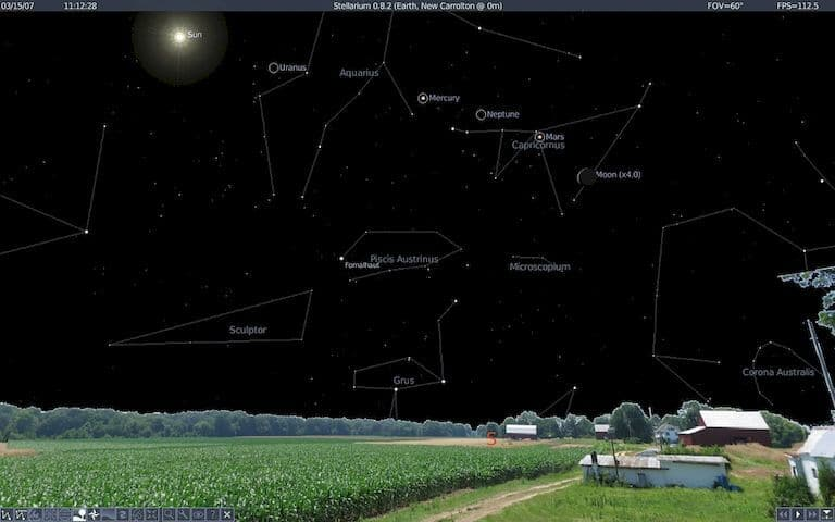 Find stars and constellations with tools like stellarium