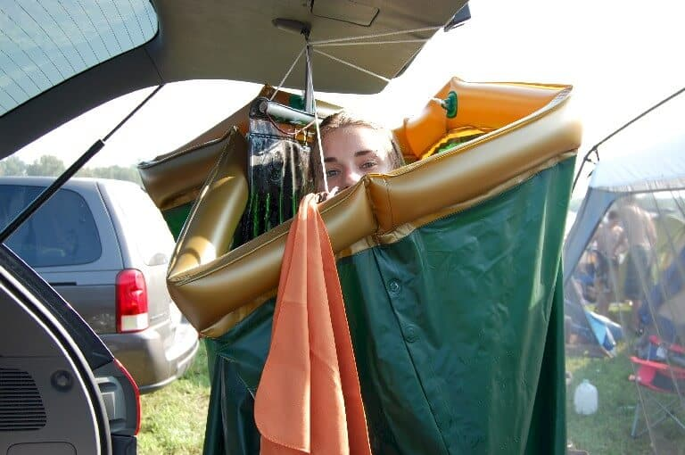 Take a hot shower when camping